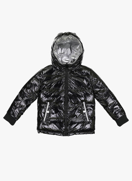 Vierra Rose Jared Reversible Puffer in Black/Silver - FINAL SALE