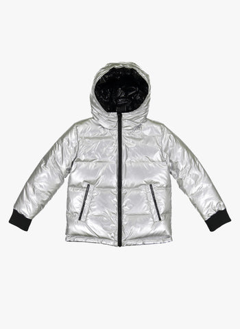 Vierra Rose Jared Reversible Puffer in Black/Silver