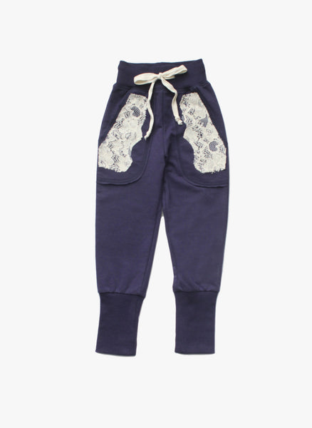 Vierra Rose Joann Lace Pocket Sweatpant in Midnight Blue - FINAL SALE