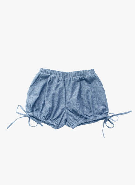 Vierra Rose Josephine Drawstring Shorts in Chambray - FINAL SALE