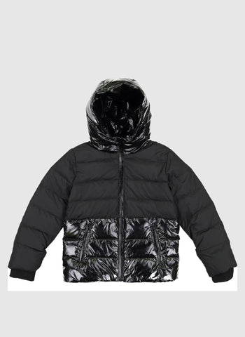 Vierra Rose Jules Shiny/Matte Combo Puffer in Black - FINAL SALE
