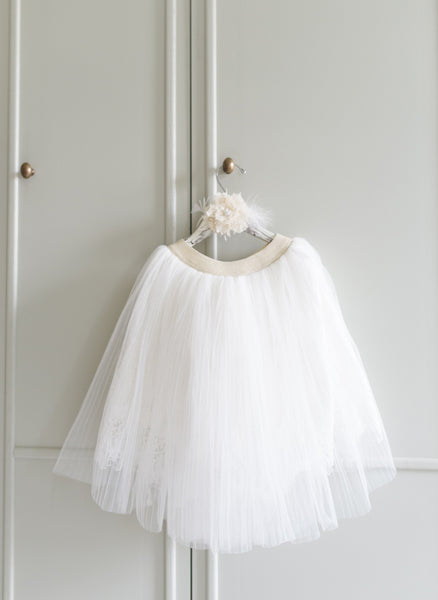 Vierra Rose Kaitlyn Lace Tulle Skirt in Cloud - FINAL SALE
