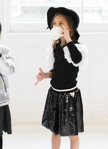 Vierra Rose Kate Sequin Skirts in Black/Grey Reversible Sequin