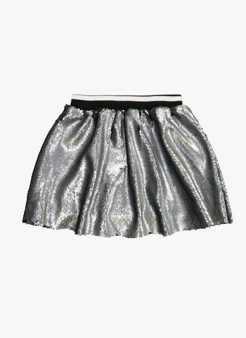Vierra Rose Kate Sequin Skirts in Silver/Black Reversible Sequins