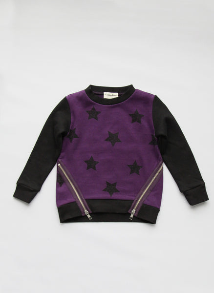 Vierra Rose Kayla Zipper Sweatshirts in Grape Star - T1029 - FINAL SALE