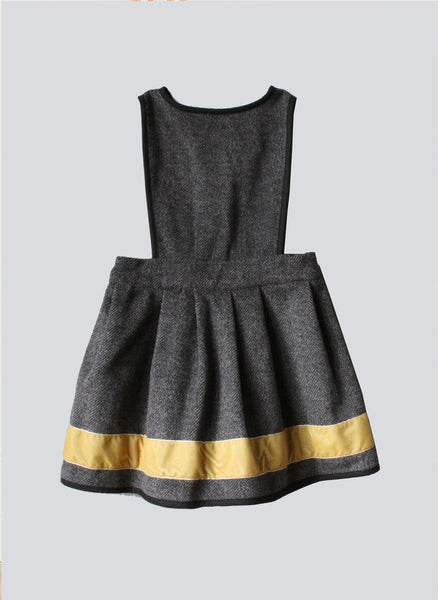 Vierra Rose Kaylee Contrast Trim Jumper Dress in Grey/Mustard