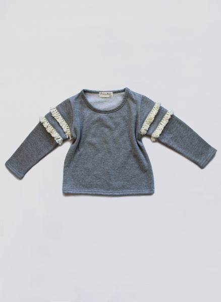 Vierra Rose Leanna Fringe Top in Grey - FINAL SALE