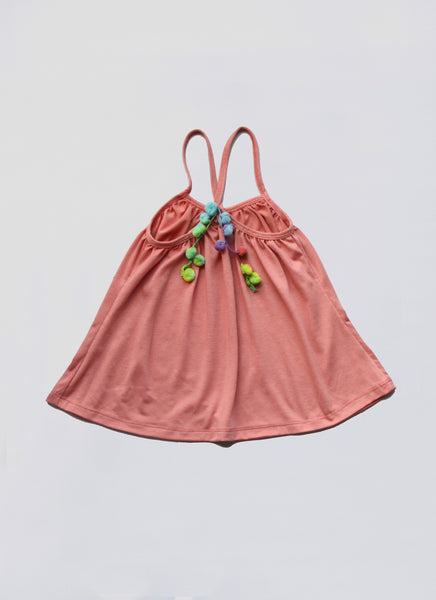 Vierra Rose Lena Pom Pom Top in Punch - FINAL SALE
