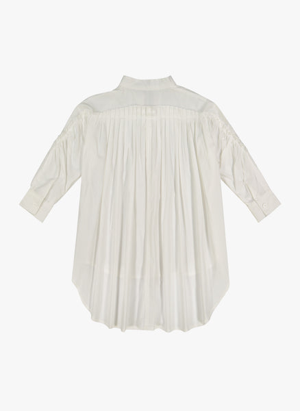 Vierra Rose Leslie Gathered Back Shirting Dress in White - FINAL SALE