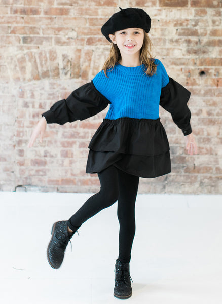 Vierra Rose Liv Two Tone Ruffle Sweater in Blue Combo - FINAL SALE
