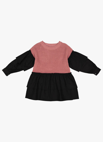 Vierra Rose Liv Two Tone Ruffle Sweater in Nude Combo - FINAL SALE
