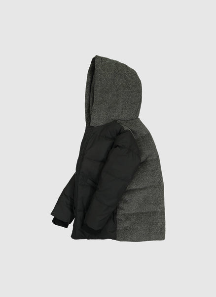 Vierra Rose London Wool Back Puffer in Black/Grey - FINAL SALE