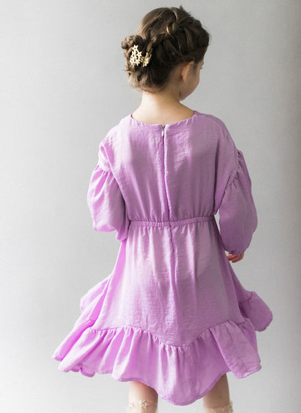 Vierra Rose Marchesa Chambray Midi Doll Dress in Lavender