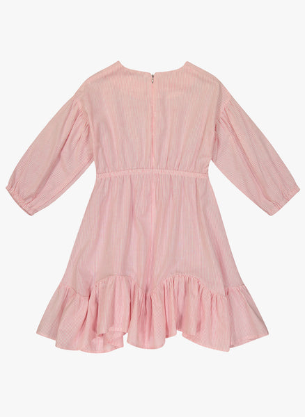 Vierra Rose Marchesa Chambray Midi Doll Dress in Pink Stripe - FINAL SALE