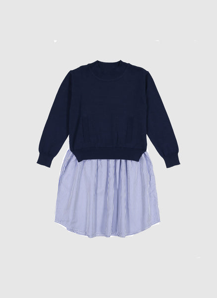 Vierra Rose Margot Sweater Combo Dress in Navy Stripe - FINAL SALE
