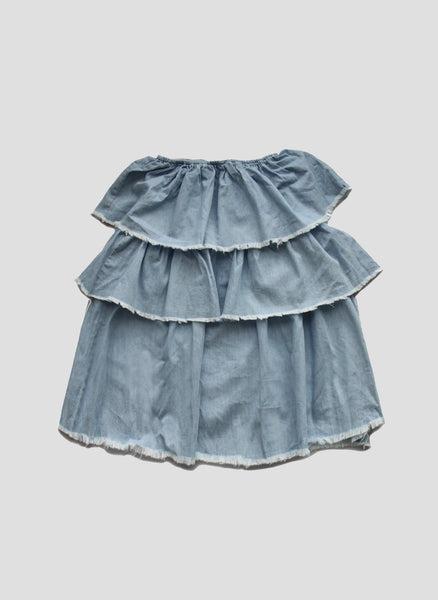 Vierra Rose Mila Ruffle Tiered Dress in Chambray - FINAL SALE