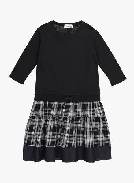Vierra Rose Mona Sweatshirt Combo Dress in Black Plaid