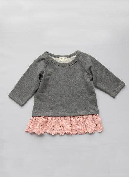 Vierra Rose Naomi Eyelet Sweatshirt in Grey - T1032 - FINALE SALE