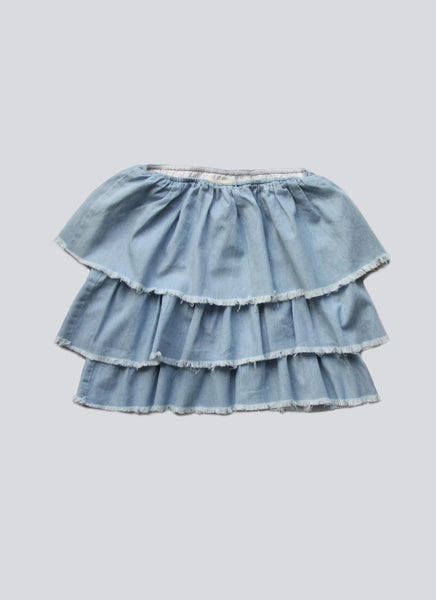 Vierra Rose Natasha Ruffle Tiered Top in Chambray - FINAL SALE