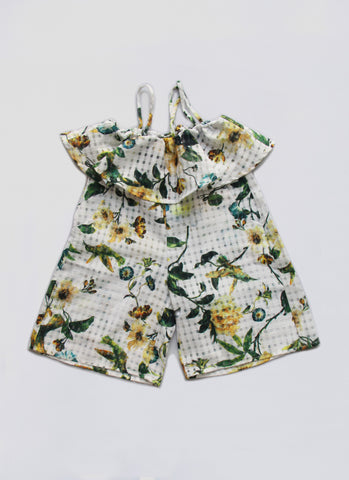 Vierra Rose Petra Ruffle Romper in Bird Print - FINAL SALE