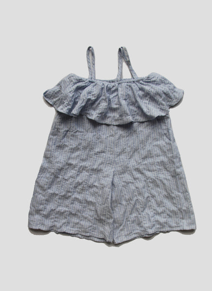 Vierra Rose Petra Ruffle Romper in Blue Pinstripe - FINAL SALE