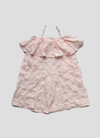 Vierra Rose Petra Ruffle Romper in Pink Pinstripe - FINAL SALE