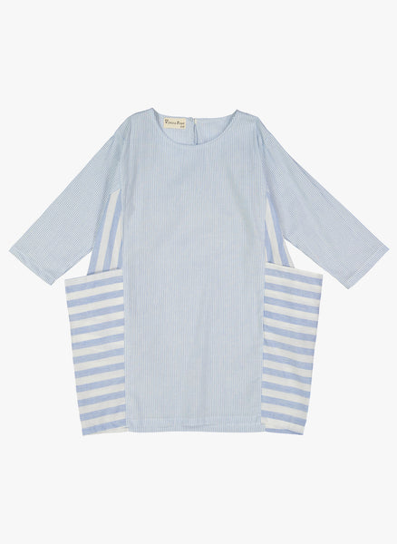 Vierra Rose Reina Big Pocket Side Dress in Blue Stripe - FINAL SALE