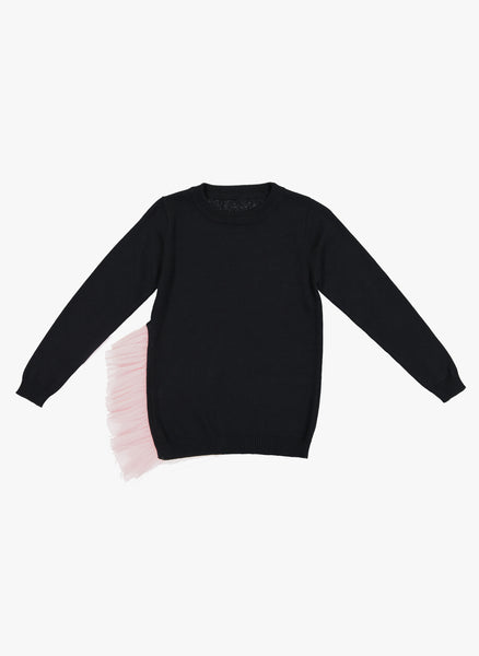Vierra Rose Rita Tulle Side Sweater in Black/Nude - FINAL SALE