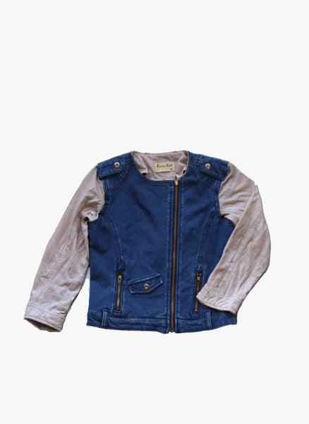 Vierra Rose Robin Moto Jacket in Denim French Terry - J8008