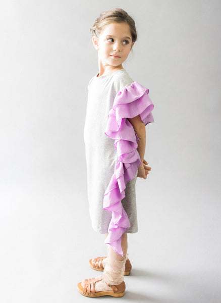 Vierra Rose Rosella Ruffle One Side Dress in Lavender/ Grey - FINAL SALE