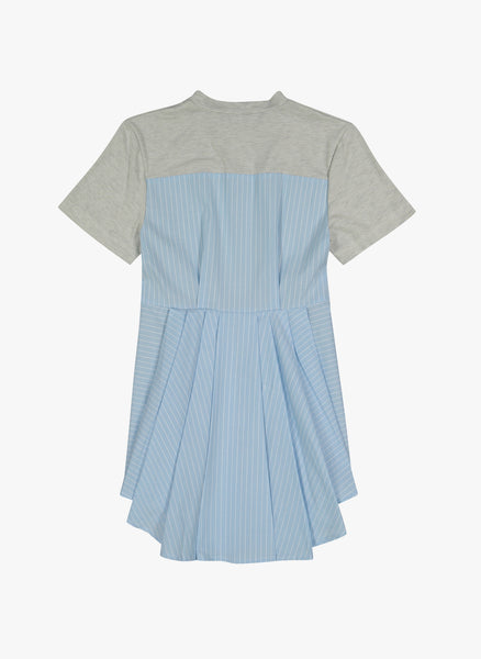 Vierra Rose Sabina Combo Back Dress In Blue Pinstripe - FINAL SALE