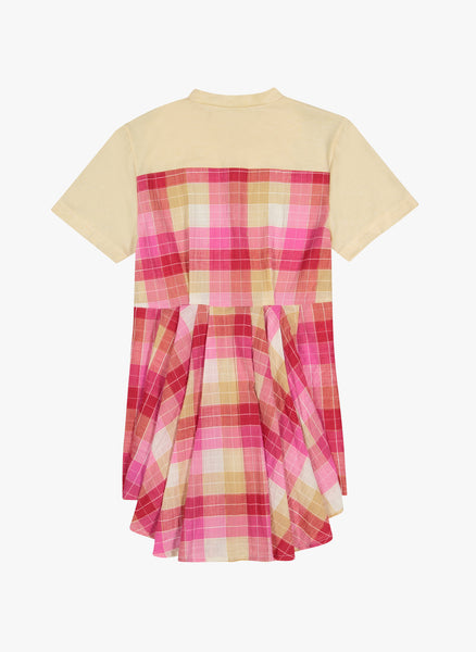 Vierra Rose Sabina Combo Back Dress In Pink Plaid - FINAL SALE