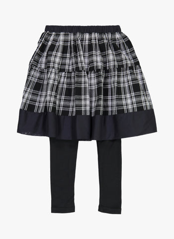 Vierra Rose Sandra Skirt Leggings in Black Plaid