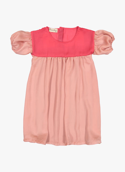 Vierra Rose Simone Color Blocked Chambray Dress in Pink Combo - FINAL SALE