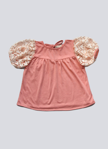 Vierra Rose Sophie Bubble Sleeve Top in Punch - FINAL SALE