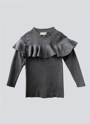 Vierra Rose Stella Ruffle Sweater in Grey