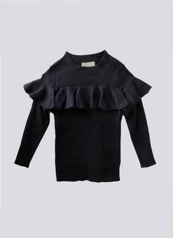 Vierra Rose Stella Ruffle Sweater in Black