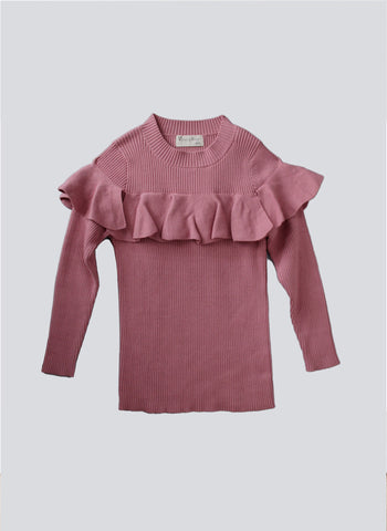 Vierra Rose Stella Ruffle Sweater in Pink