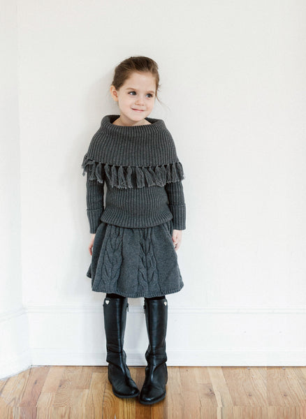 Vierra Rose Sabella Fringe Sweater in Grey - FINAL SALE