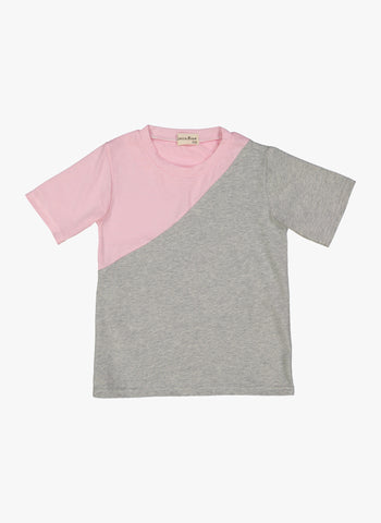 Vierra Rose Tyra Asymmetrical Color-blocked Tee in Pink/Grey - FINAL SALE