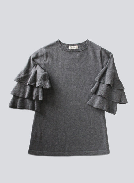 Vierra Rose Vian Ruffle Sleeve Sweater Dress in Dark Grey