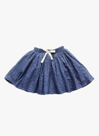 Vierra Rose Vienna Gathered Skirt in Blue Dot - FINAL SALE
