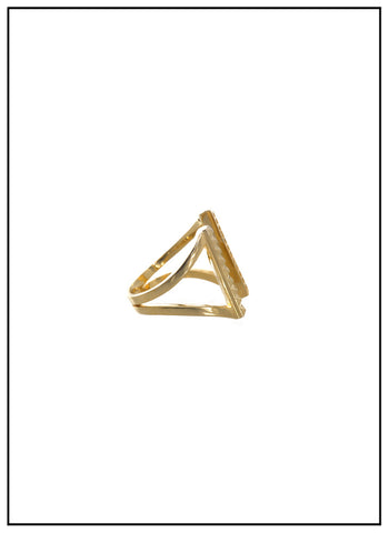 Wanderlust Stud & Crystal Gold Cuff Ring - FINAL SALE