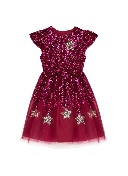 Wild and Gorgeous Star Wonder Dress in Dark Red - FINAL SALE