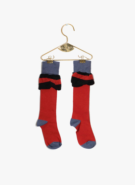 Wolf and Rita Socks with Frills in Brick - FINAL SALE