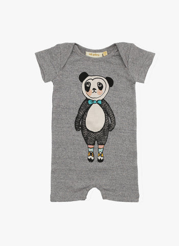 Soft Gallery Owen Panda Baby Romper in Grey Melange - FINAL SALE