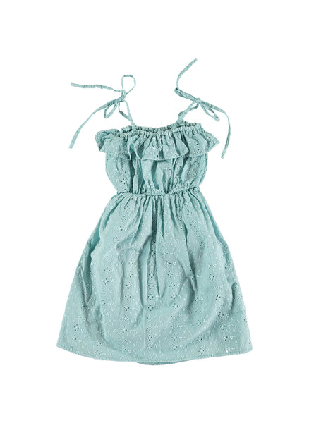 Tocoto Vintage Swiss Embroidered Eyelet Girls Dress in Green - FINAL SALE