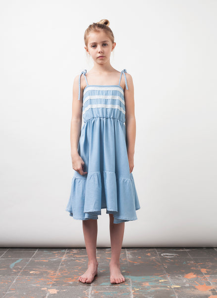 tocoto vintage Chambray and Lace Midi Girls Dress in Blue