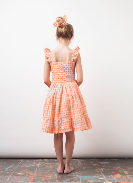 tocoto vintage Checker Print Girls Dress in Pink