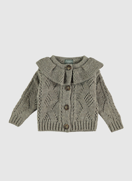 tocoto vintage Flounce neck cardigan in Grey - FINAL SALE